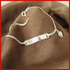 Identitätsarmband, 925er Silber, ID Armband mit Herz, Länge: 16 cm, ID#23, NEU
