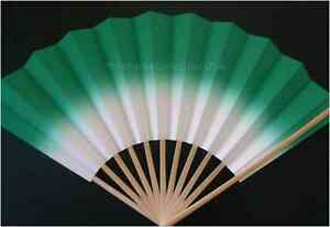 "Japanese 10.5""L Geisha ""Odori"" Dance Hand Held SENSU Fan/GREEN/Made in Japan"