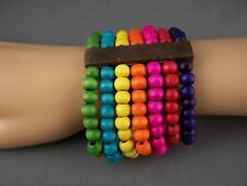 "colorful wood wooden rainbow beaded 2.25"" wide stretch bracelet"