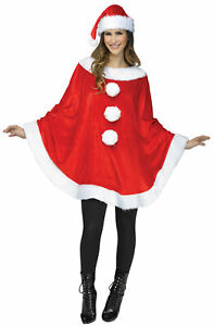 ADULT SANTA CLAUS PONCHO CAPE CHRISTMAS COSTUME ACCESSORY FW7776S