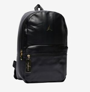 Nike Air Jordan Faux Leather Backpack Black Gold  Jumpman Limited Edition Small