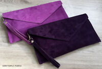 Dark Purple Wedding Clutch Bag Evening Bag Oversize Envelope Suede Made in Italy