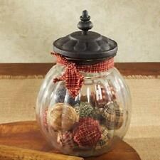 "Rustic Country Glass Jar w/Lid #88713 Homespun Ribbon 9"" Large NEW"