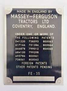 Massey Ferguson FE35 FE-35 Tractor Commission reproduction plate restoration