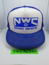Vintage NWC North West Construction White &   Blue Snapback Cap Hat