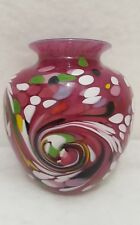 Studio Art Glass By Paul Crosbie Hand Blown Vase Layered Glass Etched Signature