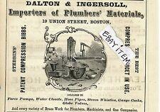 1873 Werbung Boston Massachusetts Dalton & Ingersoll 19 Union St. Klempner