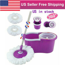 360° Spin Mop & Bucket Set  Home Office Floor Cleaning Tools System + 2 Heads