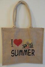 """JUTE BAG """"I LOVE SUMMER"""" BEACH BAG FESTIVAL BAG SHOPPING BAG"""