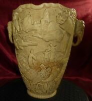 Vintage JAPANESE RESIN VASE with Elephant Heads - Carved Ivory style & look 26cm