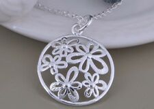 Stunning 925 Sterling Silver Round Flower Pendant Necklace Link Chain Jewelry