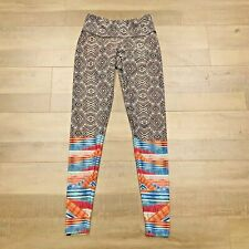 Onzie Legging XS Black White Geometric Pants Lower Leg Stripes