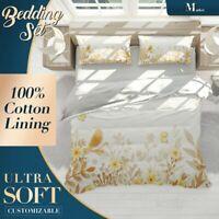 Autumn Daisy Floral Flowers Orange Quilt Cover Sets w 2x Matching Pillow Shams