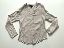 Ladies Atmosphere Long Sleeves V Neck Button Up Shirt Size 10