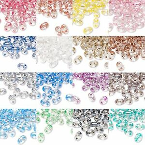 170 Czech Glass Twin Hole 5mm Seed Beads W/2 Holes In 2 Toned Clear Lined Colors