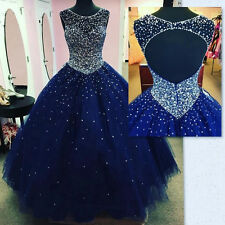 Navy Blue Ball Gown Puffy Quinceanera Dresses Open Back Tulle Beading Prom Gown
