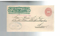 1890 Leon Mexico Wells Fargo Express Mail Cover Front 10 Centavos