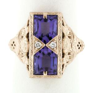 14K Rose Gold 1.80ctw Amethyst W/ Diamond & Filigree Milgrain Etched Dinner Ring