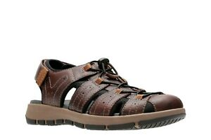NEW MENS CLARKS BRIXBY COVE BROWN LEATHER STRAP COMFORTABLE FISHERMAN SANDALS