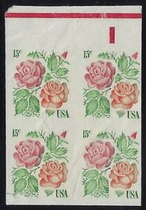 "1737b Imperf Error Block of 4 ""Roses"" Mint NH Cat $900 Faults ""Read"""
