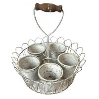 Iron Planter with 5 Plantpots In Wire Basket With Shovel Style Wooden Handle