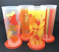 Tupperware Summer Tumbler Collection Set of 4 Tall Straight Edge 16 oz New