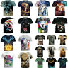 3D Animals Printing T-Shirts Casual Crew Neck Men's Short Sleeves Top Tees