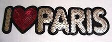 GRAND ÉCUSSON PATCH SEQUIN thermocollant - I LOVE J'AIME PARIS **7,5 x 26 cm**