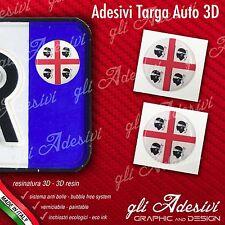 2 Adesivi Stickers bollino 3D Resinato targa Auto Moto Regione SARDEGNA Mori