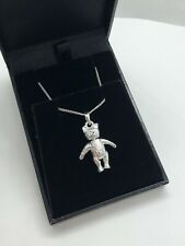 SOLID 925 STERLING SILVER TEDDY BEAR NECKLACE - POSABLE JOINTED - CURB CHAIN