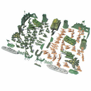 97pcs WWII  Playset - 60 Pieces 5cm Soldiers Figures (in 2 Colors), 1 Tank,