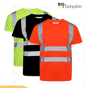 Hi Vis Viz Visibility Short Sleeve Safety Crew Neck T-Shirt Work Top Reflective