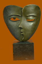 Art Deco Modern Art Faces by Dali Bronze Sculpture Marble Base Figurine Deco LRG