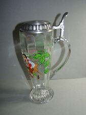GERZ GERMAN RIBBED GLASS PEWTER LID BEER STEIN~BAVARIAN MEN DRINKING BEER