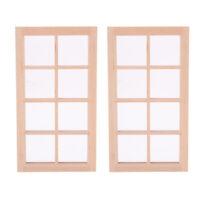 2 lot 1/12 Miniature 8-Pane Door Window Frame Furniture for Bedroom Bathroom