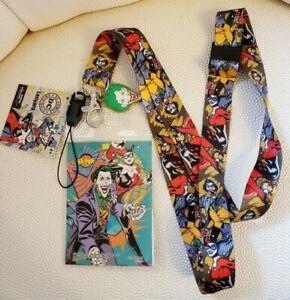 DC Comics Joker Harley Quinn Lanyard ID Card Holder With Charm NEW