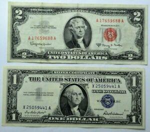 1957 $1 Dollar Silver Certificate Blue Seal & 1963-A $2 Dollar Bill Red Seal Lot