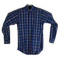 Mens S Gant Foxhunt Plaid Button Down Shirt Long Sleeve Blue Plaid Dress Casual