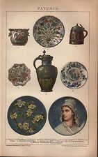 Chromo-Lithografie 1902: FAYENCE. Tonwaren aus Delft, Rouen und Strasbourg