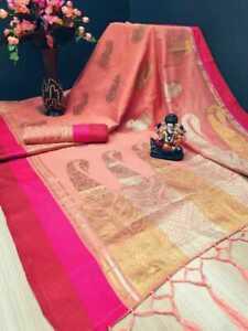 Sari Saree Indian Silk Pure Designer Wear Wedding Party Fabric Blouse Women