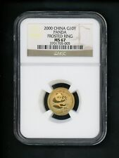 2000 China G 10Y 10 Yuan 1/10 Ounce Oz Gold Panda Coin NGC MS67 Frosted Ring