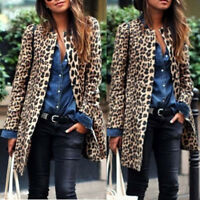 Winter Womens Ladies Cardigan Jacket Tops Leopard Print Long Coat Overcoat AB