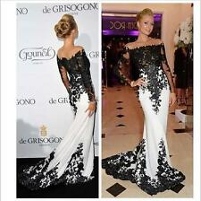 Black Lace Mermaid Prom Dresses Long Sleeves White Evening Gowns