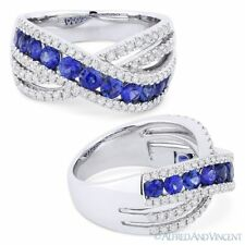 Pave 18k White Gold Right-Hand Fashion Ring 1.66 ct Round Cut Sapphire & Diamond