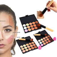 15Color Contour Face Cream Concealer Palette Make Up Sponge Puff Powder Brush DY