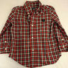 CHAPS Toddler BoysSize 3 / 3T Plaid Button Down Long Sleeve Shirt Red Plaid