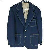 Vtg Levis Panatela Mens Rockabilly Blazer Button Jacket Navy Blue 70s 80s Disco