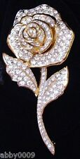 Signed Swan Swarovski Pave Rose Brooch Pin