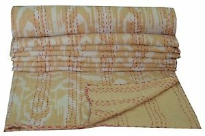 Indien Twin Ikat Kantha Quilt Throw Cotton Gudari Ralli Reversible Bedspread
