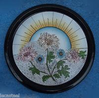 grand plateau En Tôle émaillé épais - décor de fleurs - art déco
